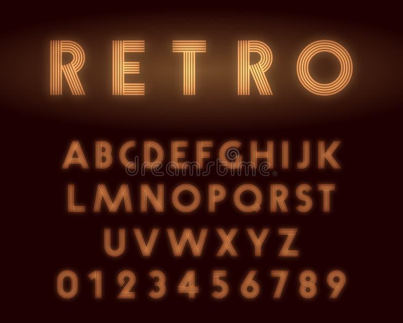 Ретро неоновый шрифт алфавита Письма и линия номеров дизайн бесплатная иллюстрация