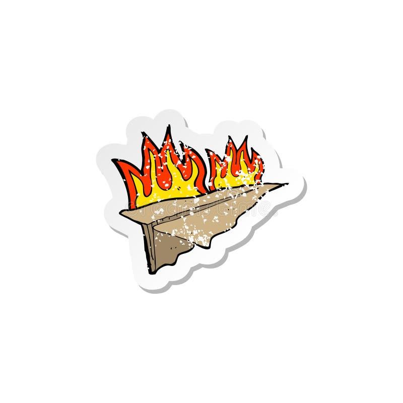 ретро огорченный стикер аэроплана бумаги мультфильма горящего иллюстрация вектора