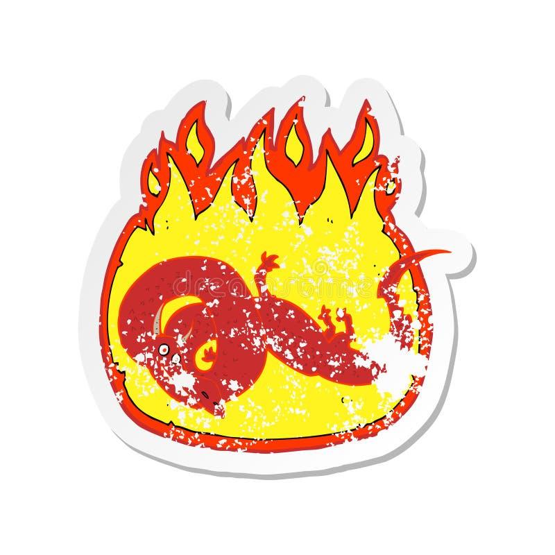 ретро огорченный стикер дракона пылать мультфильма иллюстрация вектора