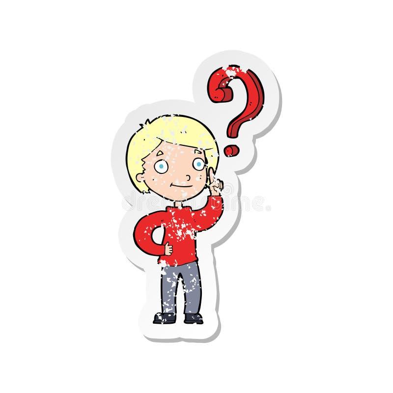 ретро огорченный стикер мальчика мультфильма спрашивая вопрос иллюстрация вектора