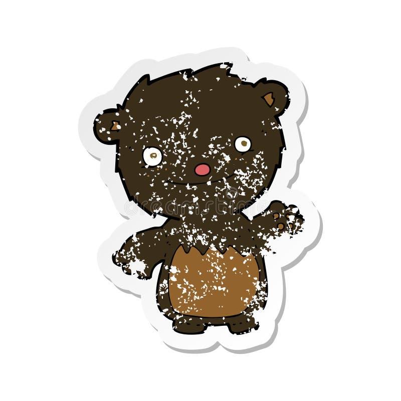 ретро огорченный стикер мультфильма развевая новичок черного медведя иллюстрация штока