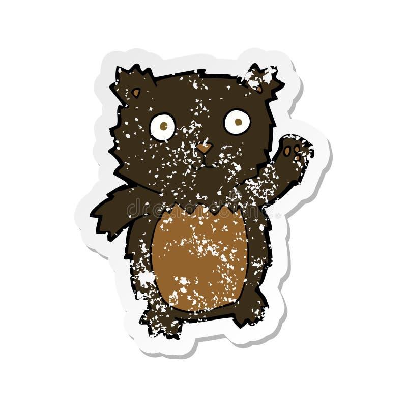 ретро огорченный стикер мультфильма развевая новичок черного медведя бесплатная иллюстрация