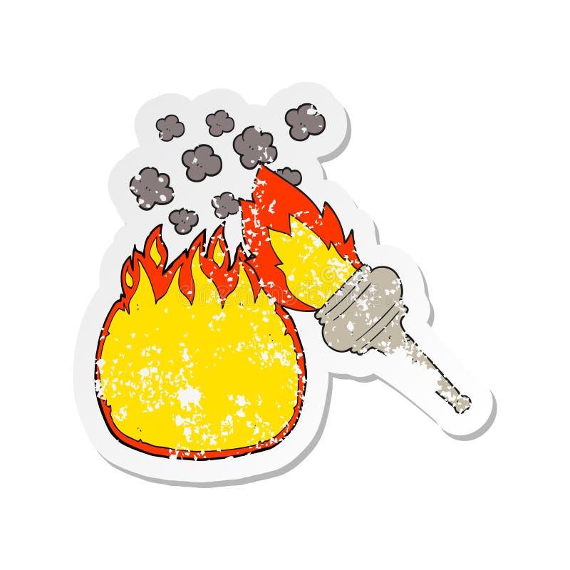 ретро огорченный стикер факела пылать мультфильма бесплатная иллюстрация