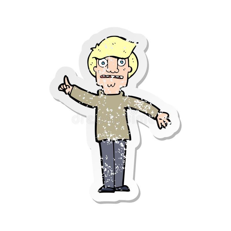 ретро огорченный стикер человека мультфильма спрашивая вопрос иллюстрация штока