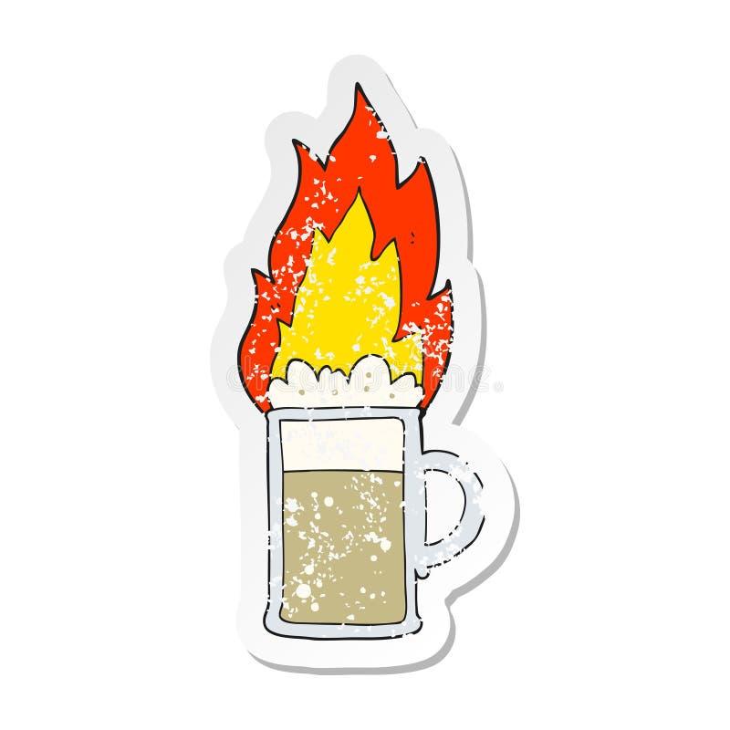 ретро огорченный стикер tankard пылать мультфильма пива иллюстрация штока