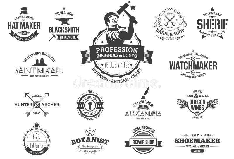 Ретро логотипы профессии иллюстрация вектора