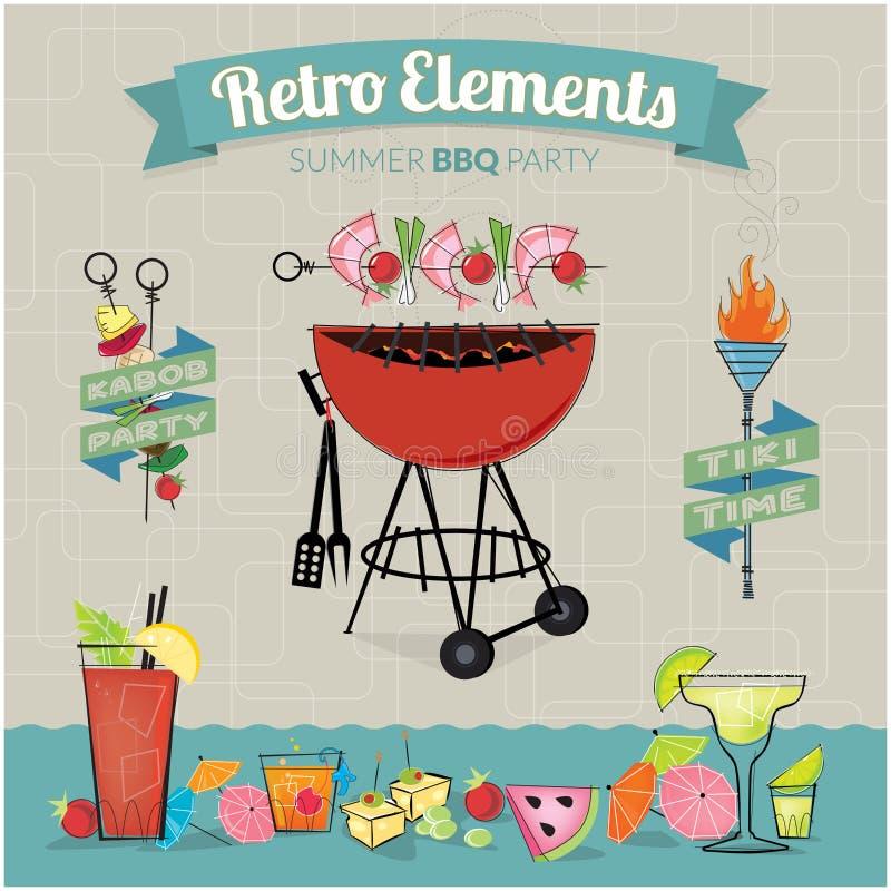 Ретро партия BBQ элементов бесплатная иллюстрация