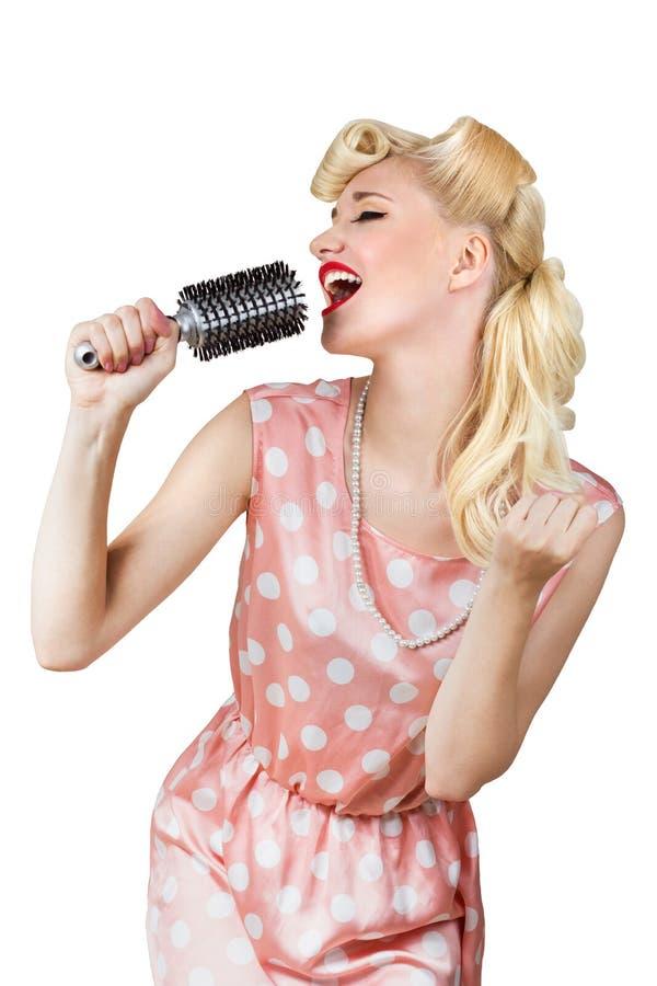 Ретро певица девушки стоковое изображение rf