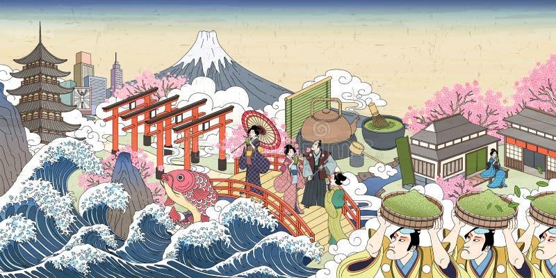 Ретро пейзаж улицы Японии иллюстрация штока