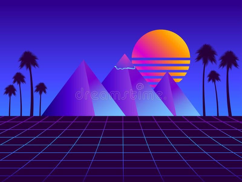 Ретро пирамиды futurism с пальмами Решетка перспективы Неоновый заход солнца Предпосылка Synthwave ретро Retrowave вектор бесплатная иллюстрация