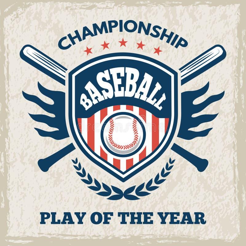 Ретро плакат для клуба бейсбола Эмблема спорта в стиле вектора иллюстрация штока