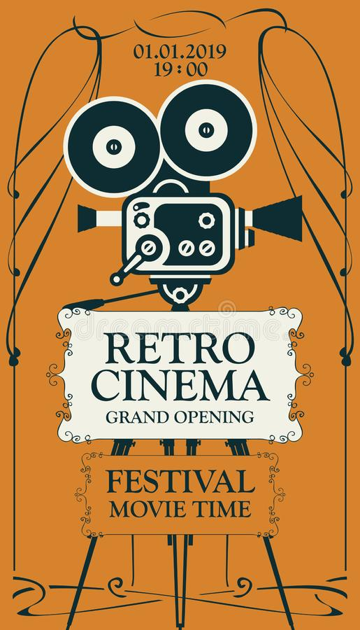 Ретро плакат фестиваля кино со старым киносъемочным аппаратом иллюстрация штока