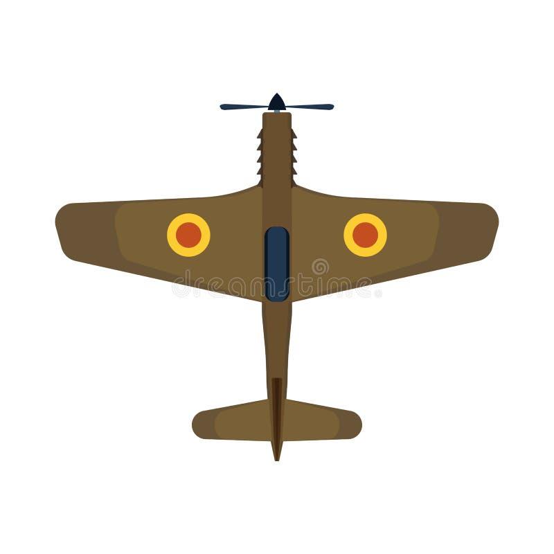 Ретро плоская авиация воздушных судн значка вектора взгляда сверху Переход воздушного путешествия изолированный самолет-бипланом  иллюстрация штока