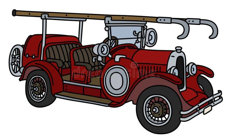 Ретро пожарная машина иллюстрация штока