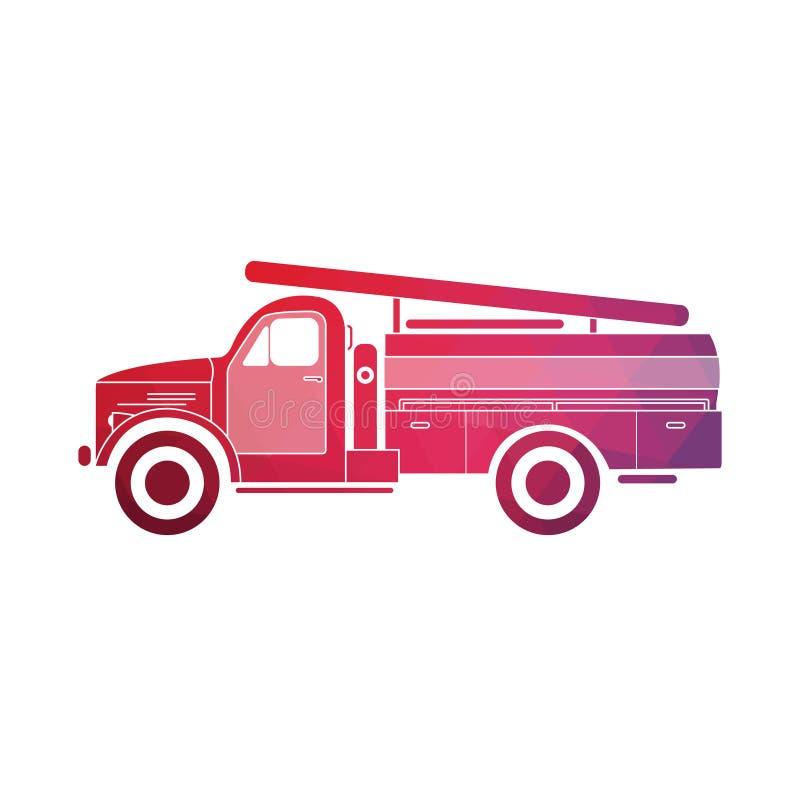 Ретро пожарная машина иллюстрация вектора