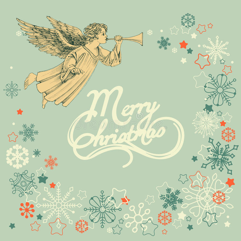 Ретро поздравительная открытка рождества иллюстрация вектора