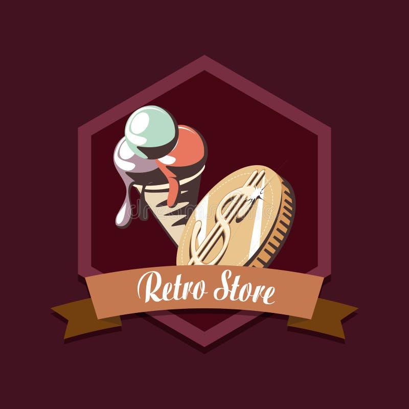 Ретро покупки денег мороженого магазина бесплатная иллюстрация