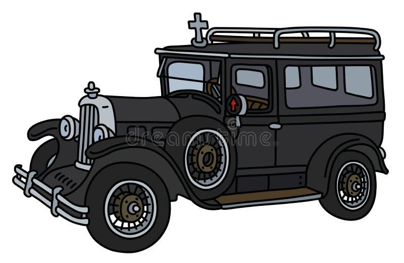 Ретро похоронный автомобиль бесплатная иллюстрация