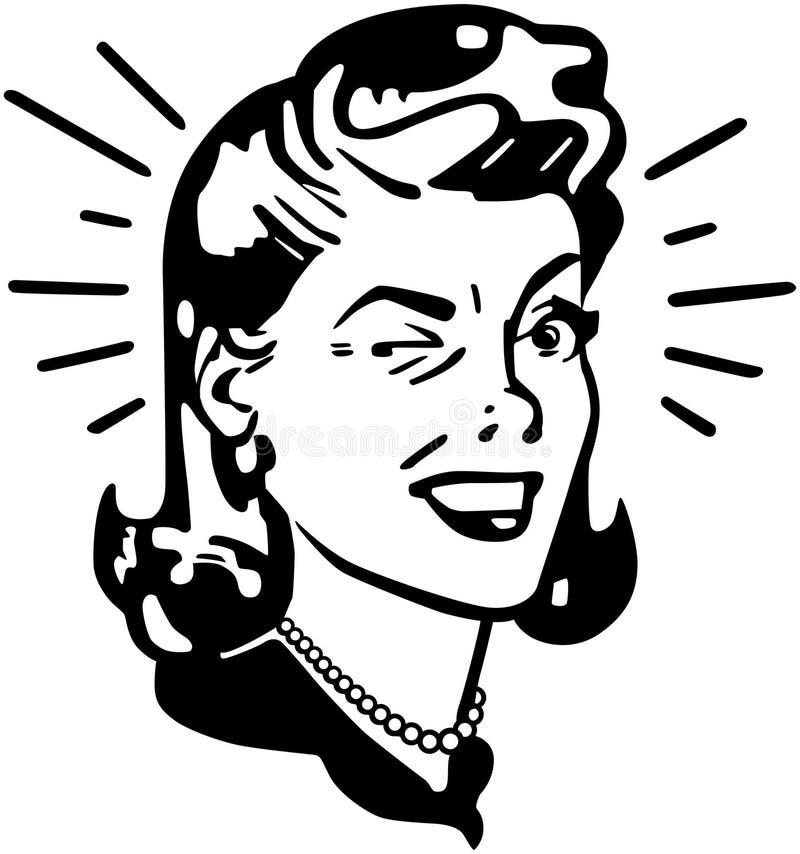 Ретро подмигивать женщины иллюстрация вектора