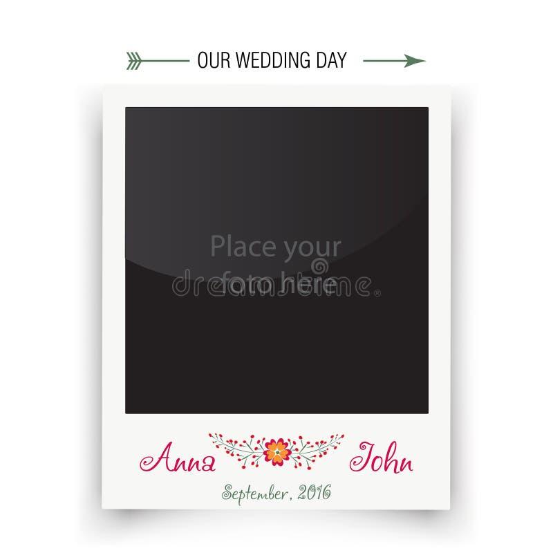 Ретро поляроид рамки фото свадьбы Шаблон для бесплатная иллюстрация