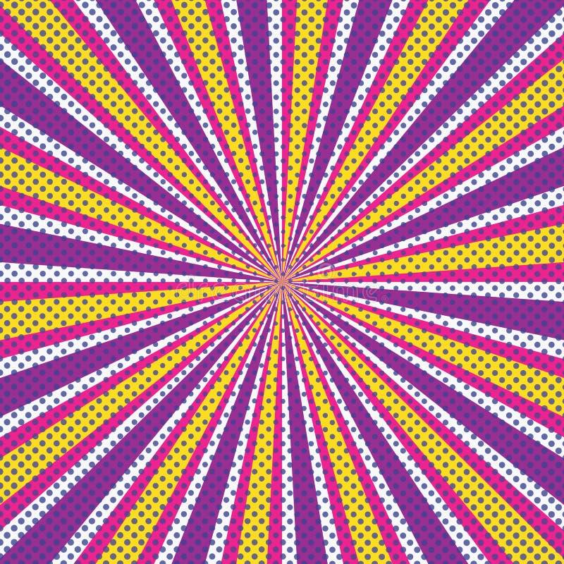 Ретро предпосылка пурпурная, апельсин лучей солнца, желтый иллюстрация штока