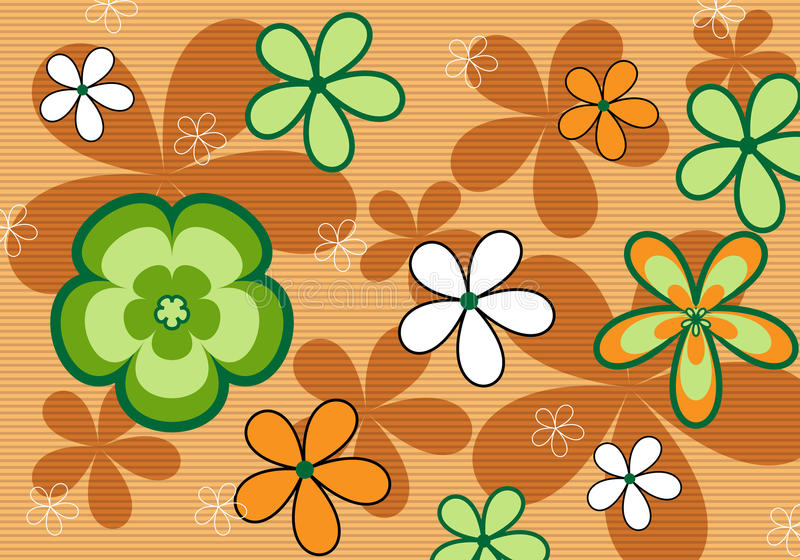 ретро предпосылки флористическое померанцовое иллюстрация вектора