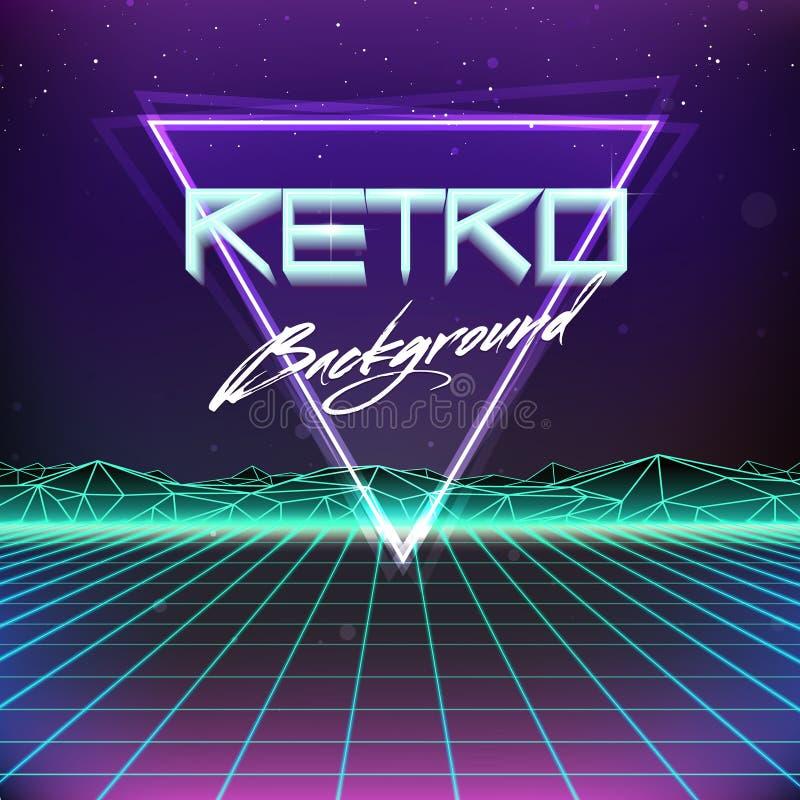 ретро предпосылка научной фантастики Futurism 80s иллюстрация вектора