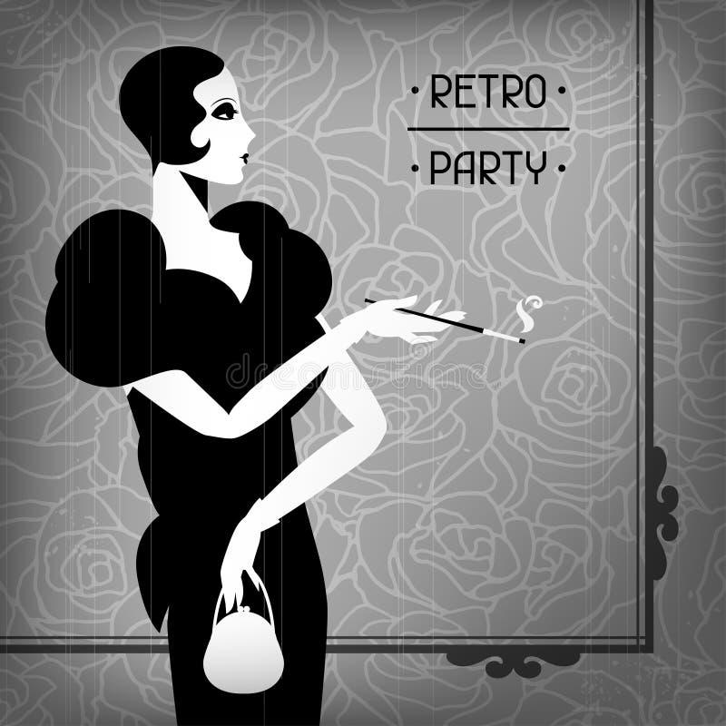 Ретро предпосылка партии с красивой девушкой  иллюстрация вектора