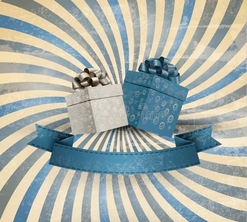 Ретро предпосылка праздника с лентой подарка с gif иллюстрация вектора