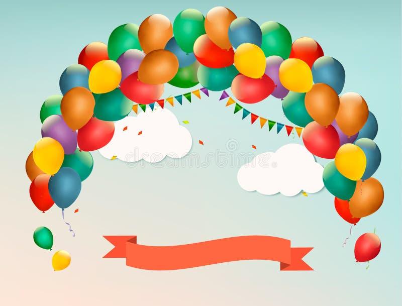 Ретро предпосылка праздника с красочными воздушными шарами иллюстрация штока