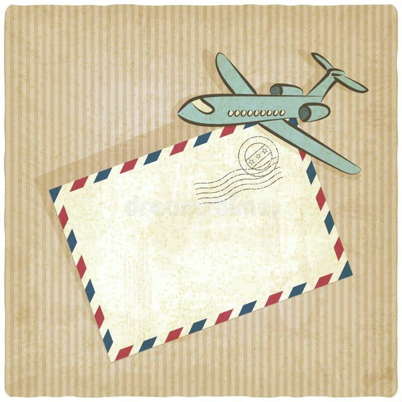 Ретро предпосылка с самолетом иллюстрация вектора