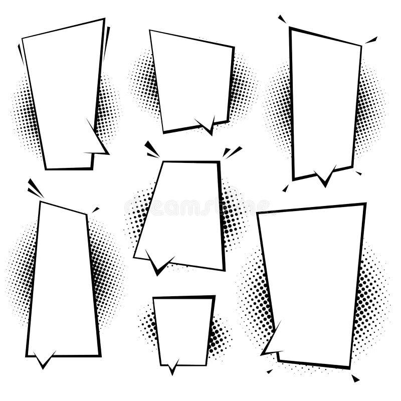 Ретро пустые шуточные пузыри и набор элементов с черными тенями полутонового изображения Иллюстрация вектора, винтажный дизайн, и иллюстрация вектора