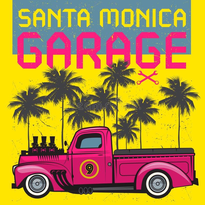 Ретро плакат грузового пикапа с гаражом Санта-Моника текста бесплатная иллюстрация