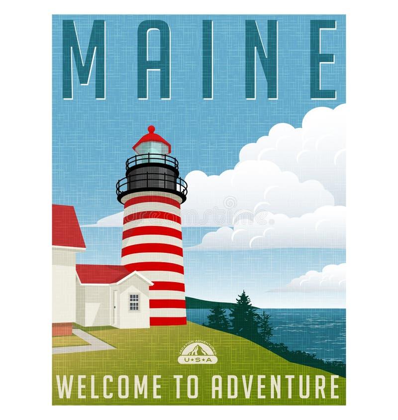 Ретро плакат маяк Соединенных Штатов перемещения стиля, Мейна иллюстрация вектора