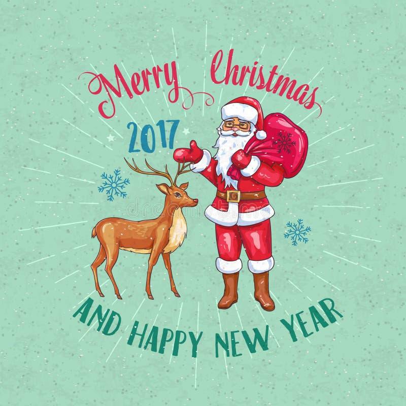 Ретро плакат рождества с Санта Клаусом и оленями иллюстрация вектора