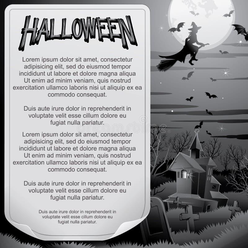 Ретро плакат BW хеллоуина - флаг европейского архива внутри слоев доработал готовую сеть вектора бесплатная иллюстрация
