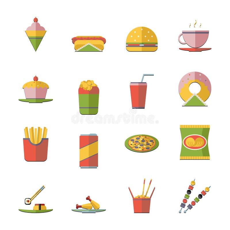 Ретро плоская иллюстрация вектора значков фаст-фуда и комплекта символов иллюстрация штока