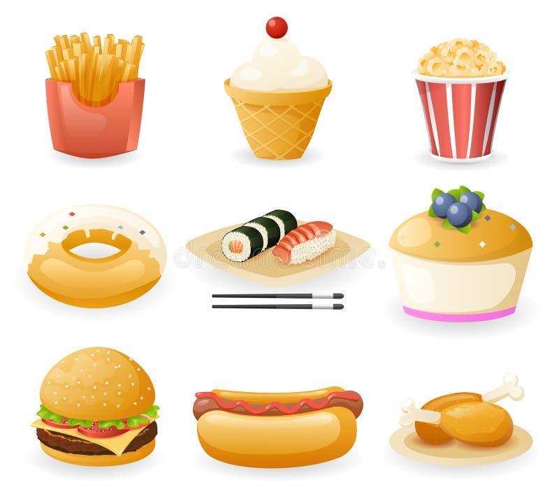 Ретро плоская иллюстрация вектора значков фаст-фуда и комплекта символов бесплатная иллюстрация