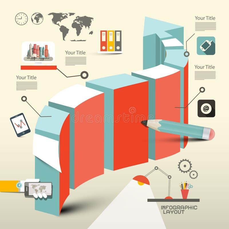 Ретро плоский план Infographic дизайна иллюстрация вектора