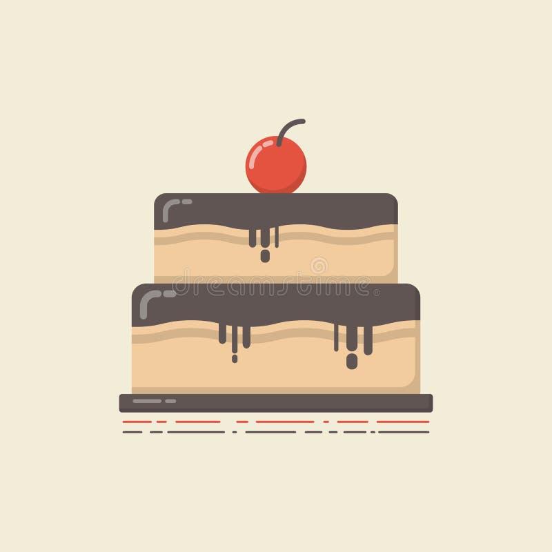 Ретро плоский торт бесплатная иллюстрация