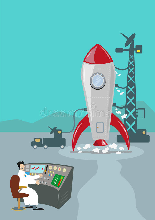 Ретро Ракета готовая для того чтобы запустить Ученый управления с земли бесплатная иллюстрация