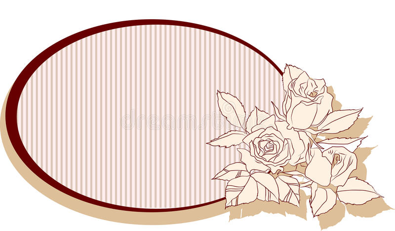 Ретро рамка с розами иллюстрация штока
