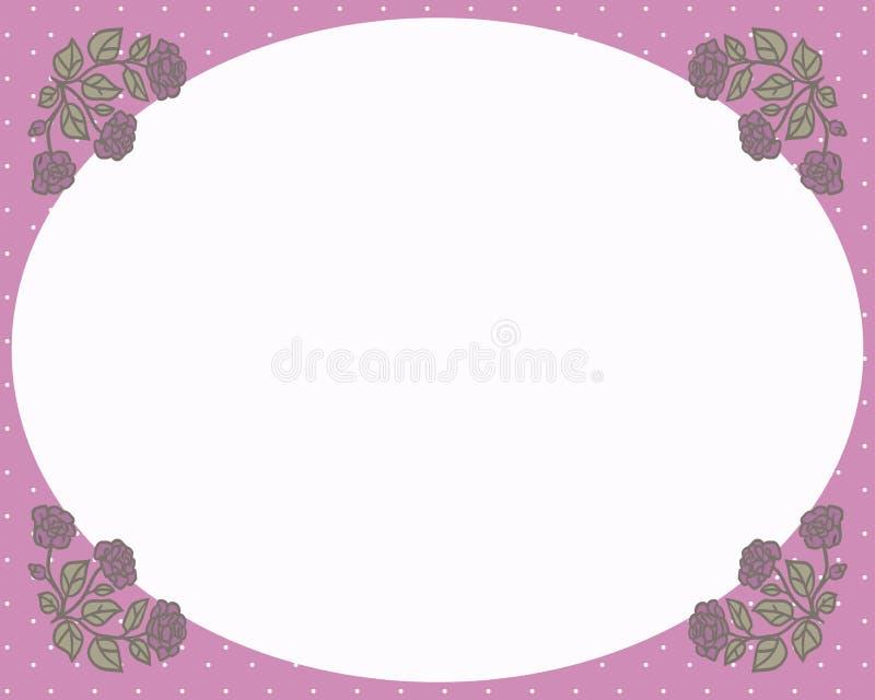 Ретро рамка с розовыми углами с картиной и чертежами красных роз с зелеными листьями с белым пустым приветствием вектора космоса иллюстрация штока