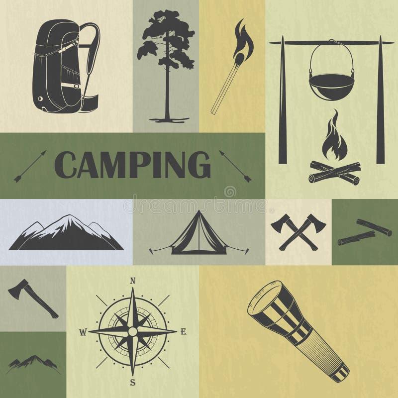 Ретро располагаясь лагерем установленные значки иллюстрация вектора