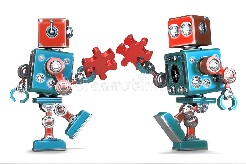 Ретро роботы собирая части мозаики изолировано Содержит путь клиппирования иллюстрация штока