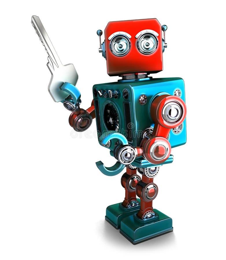 Ретро робот держа ключ иллюстрация 3d изолировано Содержит c иллюстрация вектора