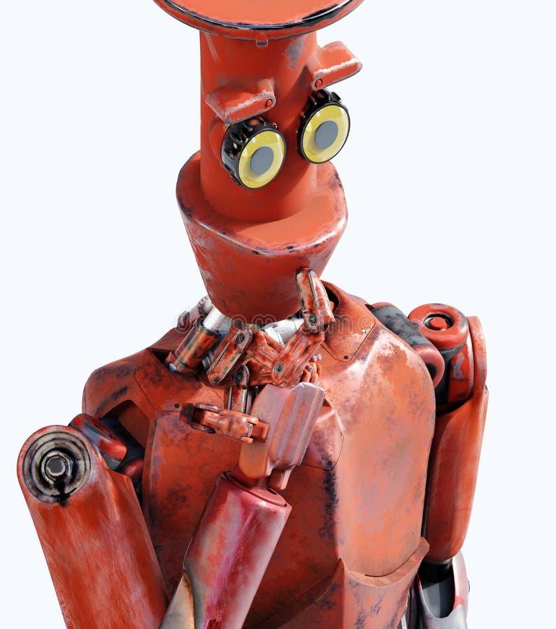 Ретро робот думает сидеть на кубе, искусственный интеллект, ai иллюстрация вектора