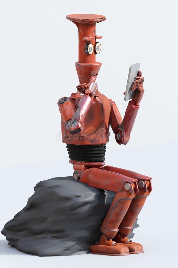 Ретро робот думает сидеть на кубе, искусственный интеллект, ai иллюстрация штока