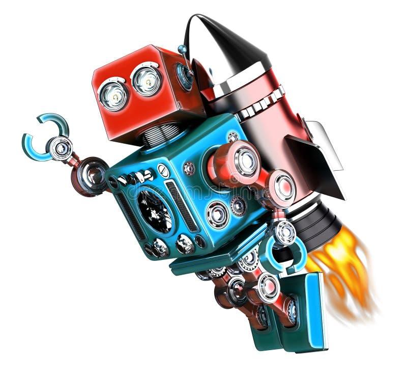 Ретро робот летая изолировано Содержит путь клиппирования иллюстрация вектора