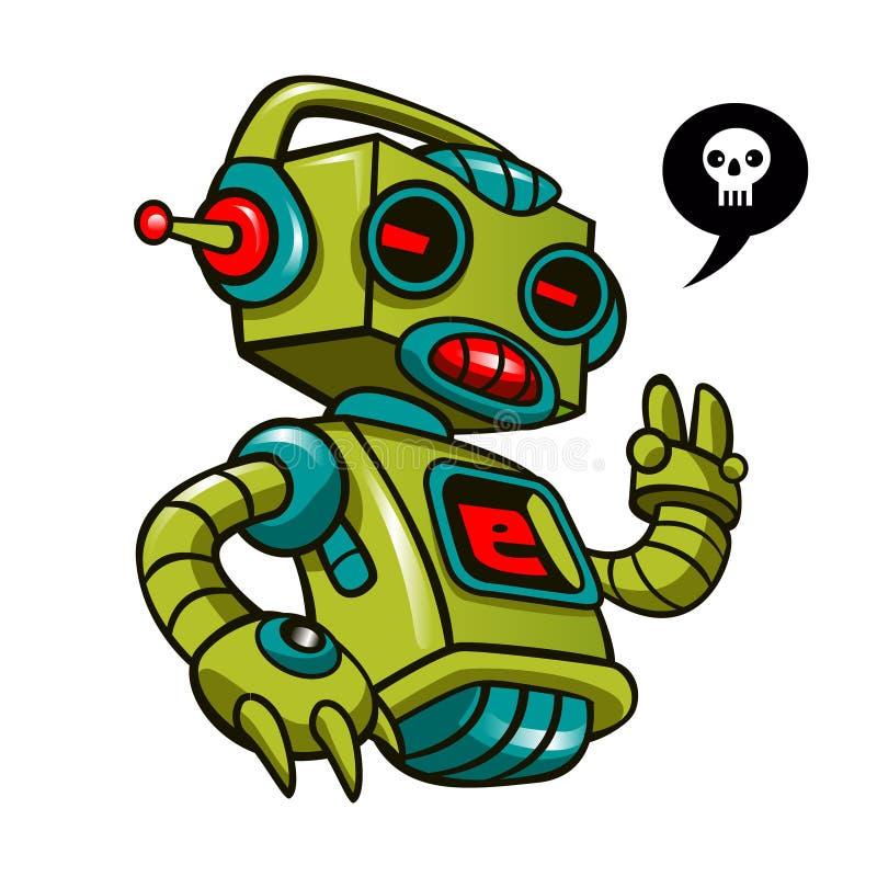 Ретро робот - забавляйтесь робот в белой предпосылке иллюстрация штока